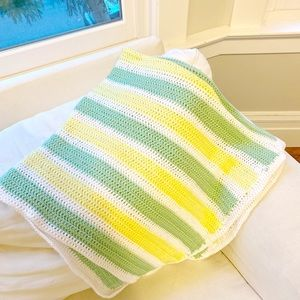 Hand Made Blanket Throw green white yell